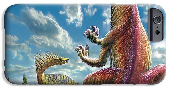 T Rex iPhone Cases - Gigantosaurus iPhone Case by Adrian Chesterman
