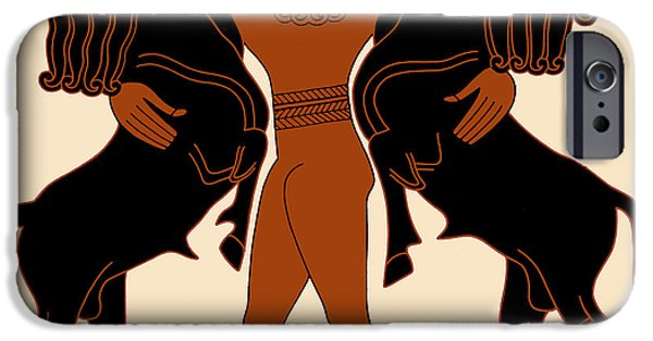 Epic iPhone Cases - Gilgamesh Subduing Two Bulls iPhone Case by Science Source