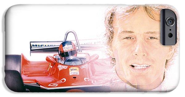 Airbrush iPhone Cases - Gilles Villeneuve  Ferrari T5  1980 iPhone Case by Alberto Ponno