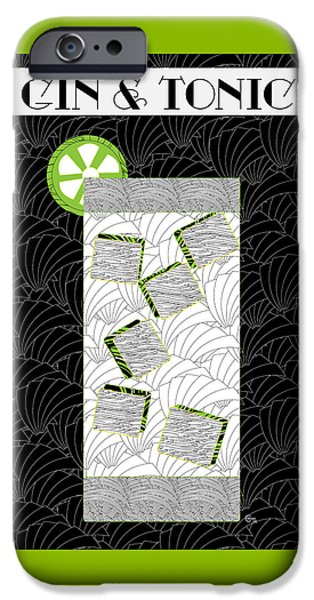 Party Invite iPhone Cases - Gin and Tonic Cocktail Art Deco Swing   iPhone Case by Cecely Bloom