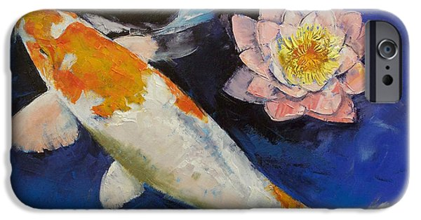 Asian Artist iPhone Cases - Gin Rin Koi and Water Lily iPhone Case by Michael Creese