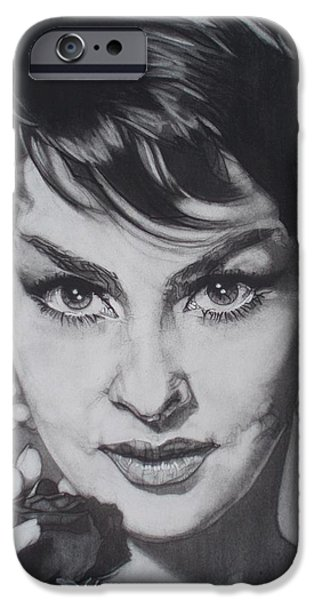 Beautiful Cat Drawings iPhone Cases - Gina Lollobrigida iPhone Case by Sean Connolly