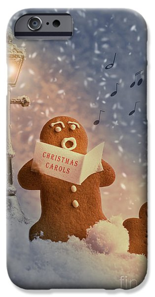 Snowy Evening iPhone Cases - Gingerbread Carol Singers iPhone Case by Amanda And Christopher Elwell