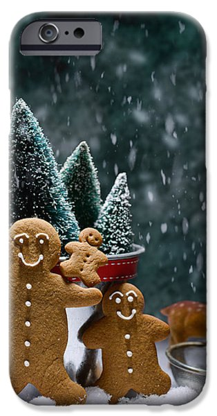 Snowy Scene iPhone Cases - Gingerbread Family In Snow iPhone Case by Amanda And Christopher Elwell
