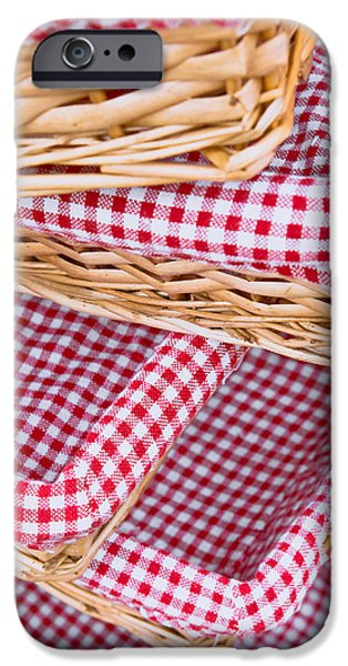 Table Cloth iPhone Cases - Gingham baskets iPhone Case by Tom Gowanlock