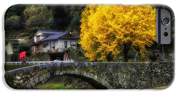 Japan House iPhone Cases - Gingko Tree in Autumn iPhone Case by Mountain Dreams