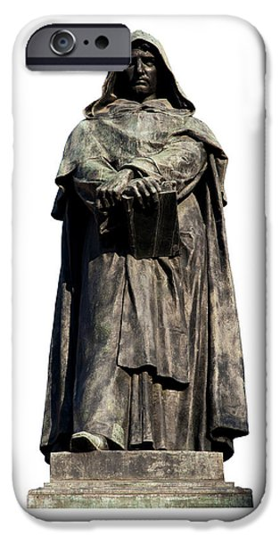 Cut-outs iPhone Cases - Giordano Bruno iPhone Case by Fabrizio Troiani