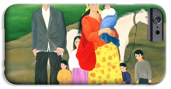 Homeless iPhone Cases - Gipsy Family, 1986 Oil On Canvas iPhone Case by Magdolna Ban