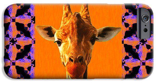 Giraffe Abstract iPhone Cases - Giraffe Abstract Window 20130205m118 iPhone Case by Wingsdomain Art and Photography