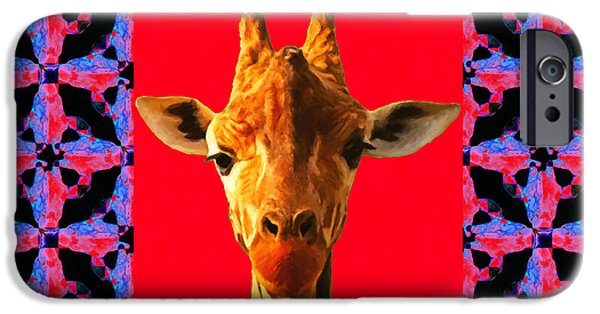 Giraffe Abstract iPhone Cases - Giraffe Abstract Window 20130205m150 iPhone Case by Wingsdomain Art and Photography