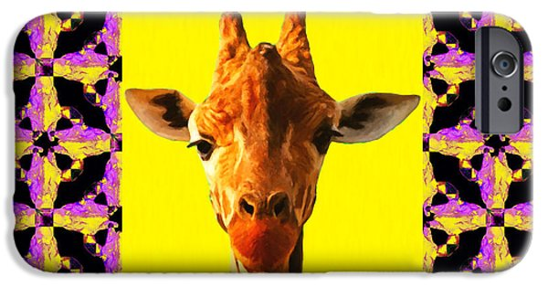 Giraffe Abstract iPhone Cases - Giraffe Abstract Window 20130205m88 iPhone Case by Wingsdomain Art and Photography
