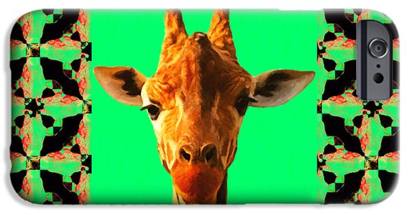 Giraffe Abstract iPhone Cases - Giraffe Abstract Window 20130205p0 iPhone Case by Wingsdomain Art and Photography
