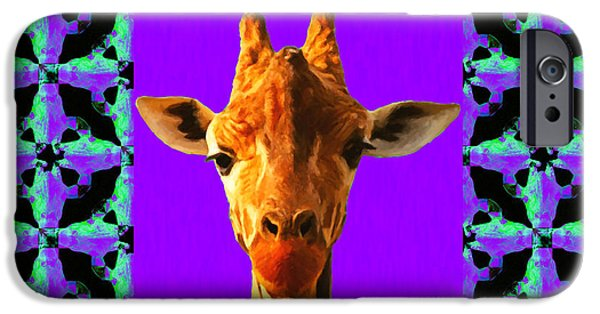 Giraffe Abstract iPhone Cases - Giraffe Abstract Window 20130205p128 iPhone Case by Wingsdomain Art and Photography
