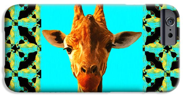 Giraffe Abstract iPhone Cases - Giraffe Abstract Window 20130205p40 iPhone Case by Wingsdomain Art and Photography