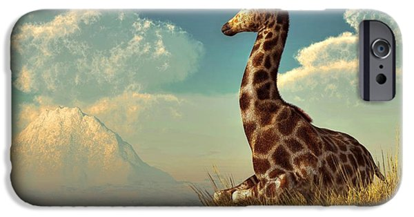 Sitting Digital iPhone Cases - Giraffe and Distant Mountain iPhone Case by Daniel Eskridge