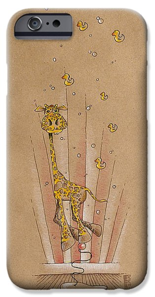 Nursery iPhone Cases - Giraffe and Rubber Duckies iPhone Case by David Breeding