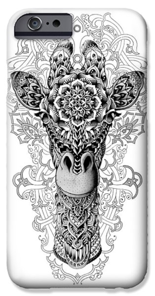 Artwork Drawings iPhone Cases - Giraffe iPhone Case by BioWorkZ