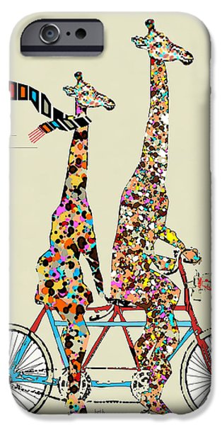 Old-fashioned iPhone Cases - Giraffe Days Lets Tandem iPhone Case by Bri Buckley