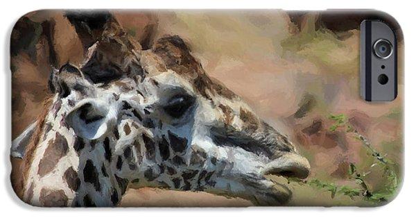 Giraffe Digital iPhone Cases - Giraffe Feeding iPhone Case by Daniel Hagerman