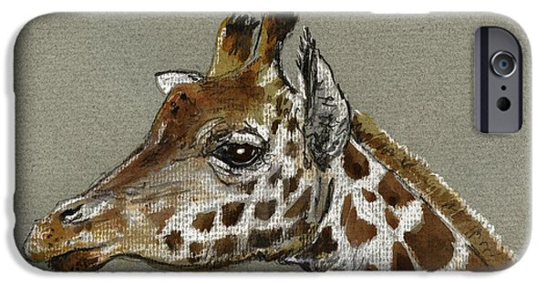 Nature Study Paintings iPhone Cases - Giraffe head study iPhone Case by Juan  Bosco