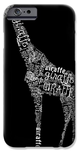 Giraffe is the Word iPhone Case by Heather Applegate