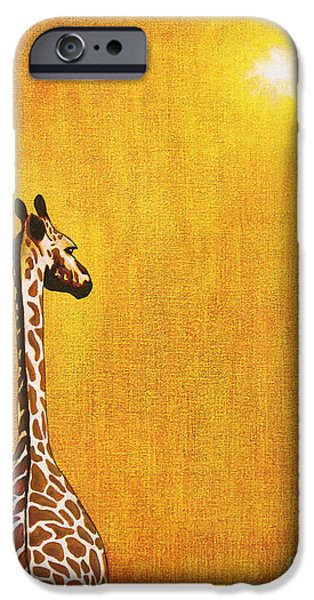 Tropical Paintings iPhone Cases - Giraffe Looking Back iPhone Case by Jerome Stumphauzer
