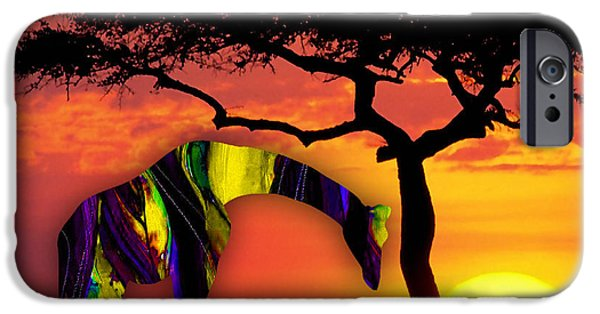 Giraffes iPhone Cases - Giraffe Painting iPhone Case by Marvin Blaine
