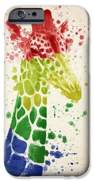 Giraffes iPhone Cases - Giraffe Splash iPhone Case by Aged Pixel