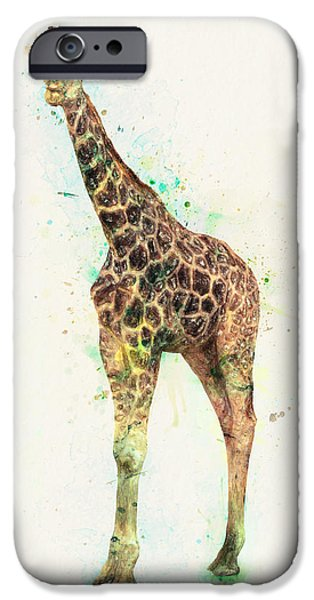 Crayons Drawings iPhone Cases - Giraffe Study iPhone Case by Taylan Soyturk