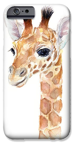 Zoo iPhone Cases - Giraffe Watercolor iPhone Case by Olga Shvartsur