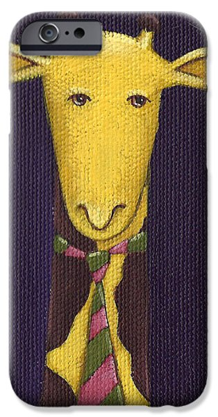 Giraffe Wearing Tie iPhone Case by Christy Beckwith