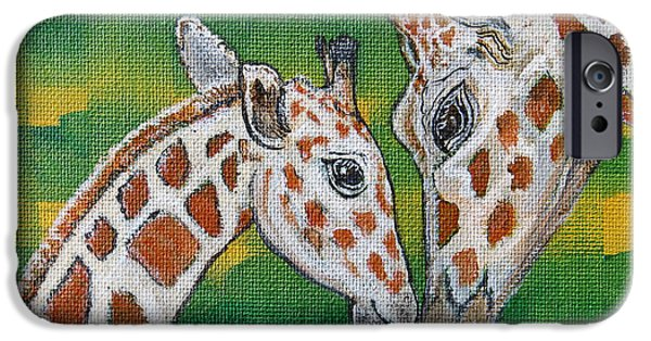 Noahs Ark Paintings iPhone Cases - Giraffes Artwork - Learning and Loving iPhone Case by Ella Kaye Dickey