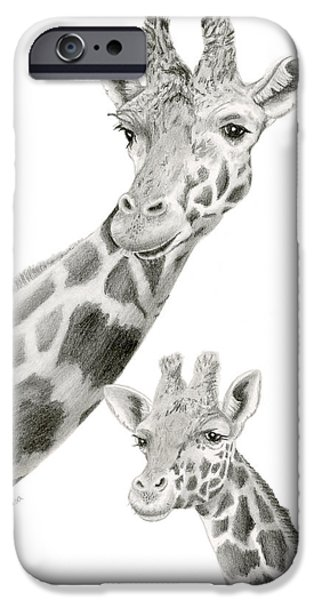 African Animal Drawings iPhone Cases - Mother Giraffe And Calf Sketch iPhone Case by Sarah Batalka