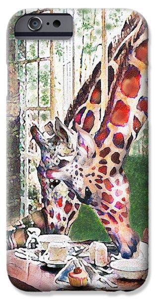 Giraffe Digital iPhone Cases - Giraffes Come To Tea iPhone Case by Jane Schnetlage