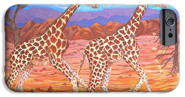 Carolinestreetart iPhone Cases - Giraffes Courting iPhone Case by Caroline Street