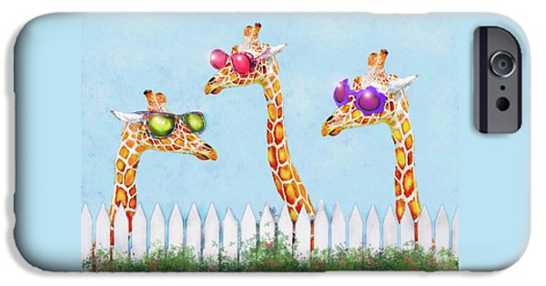 Giraffe Digital iPhone Cases - Giraffes In Sunglasses iPhone Case by Jane Schnetlage