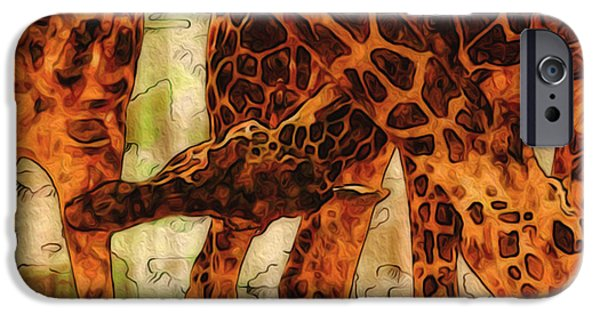 Abstract Digital Art iPhone Cases - Giraffes  iPhone Case by Jack Zulli