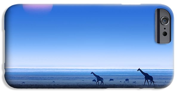 Giraffes iPhone Cases - Giraffes on salt pans of Etosha iPhone Case by Johan Swanepoel