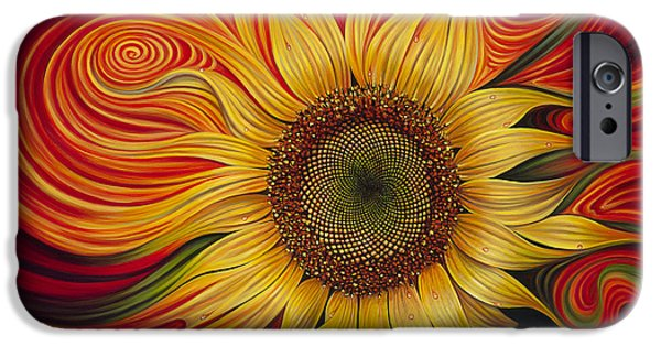 Sun Paintings iPhone Cases - Girasol Dinamico iPhone Case by Ricardo Chavez-Mendez