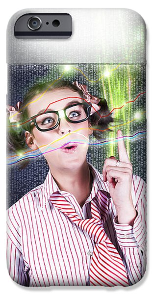 Virtual iPhone Cases - Girl Accounting Nerd Showing Finance Growth Graph iPhone Case by Ryan Jorgensen