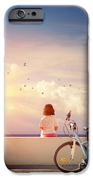 Child iPhone Cases - Girl and Bicycle iPhone Case by Carlos Caetano