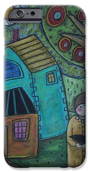 House Pastels iPhone Cases - Girl and Bird iPhone Case by Karla Gerard