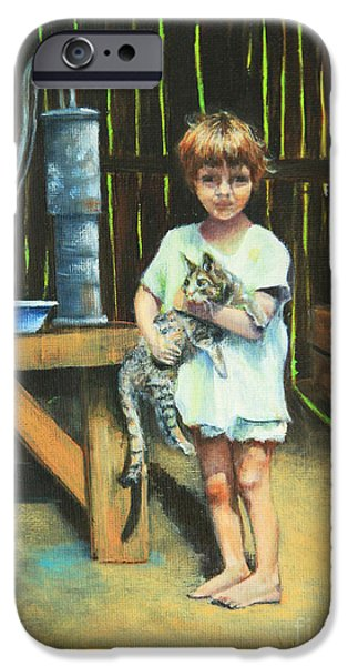 Midday Paintings iPhone Cases - Girl and Kitty iPhone Case by Jeanette French
