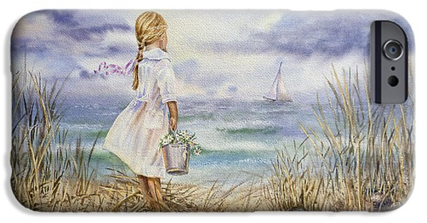 Sea iPhone Cases - Girl At The Ocean iPhone Case by Irina Sztukowski