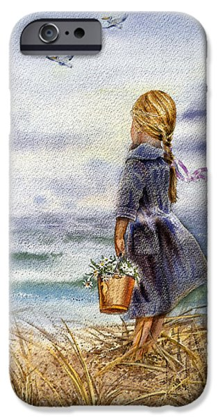 Storm Paintings iPhone Cases - Girl And The Ocean iPhone Case by Irina Sztukowski