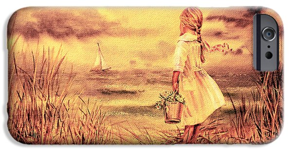 Storms Paintings iPhone Cases - Girl And The Ocean Vintage Art iPhone Case by Irina Sztukowski