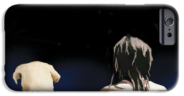 Rear View iPhone Cases - Girl And Yellow Lab iPhone Case by Marjorie Weiss