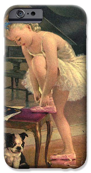 Girl Ballet Dancer Ties Her Slipper with Boston Terrier Dog iPhone Case by Pierponit Bay Archives