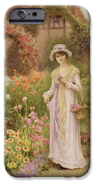 Silk Paintings iPhone Cases - Girl by a herbaceous border iPhone Case by William Affleck
