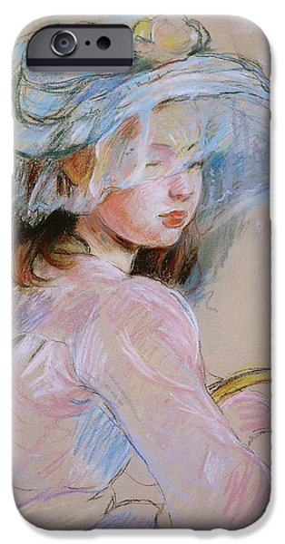 Innocence iPhone Cases - Girl Carrying A Basket, 1891 Pastel On Paper iPhone Case by Berthe Morisot